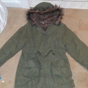 Jackets & Blazers - Military Green Winter Parker W/ Faix Fur Lining